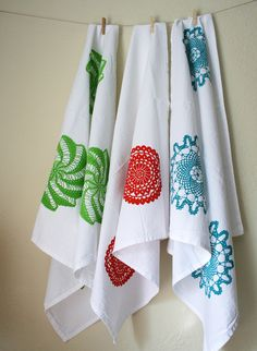 Set of Three. Kitchen Towels. Cotton Tea Towels. Hand Screen-Printed. Doily Design.  $44.00, via Etsy.