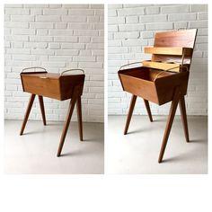 special vintage sewing box round table teak mid century sewing box n hkasten runde. Black Bedroom Furniture Sets. Home Design Ideas