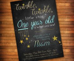 Twinkle Twinkle Little Star First Birthday Invitation by LilGiggs