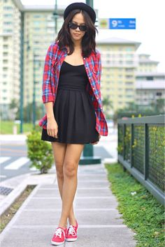 Black-topshop-dress-topshop-top-red-keds-sneakers