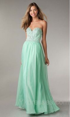 Elegant Chiffon Sweetheart Natural Long Green Evening Dresses Cheap ykdress10383