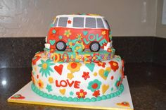 Hoop Hangout - Party - VW Van Cake - Contact Tasha at Hungry for Cake… Hippie Birthday Party, Hippie Party, Sweet 16 Birthday, Beautiful Cakes, Amazing Cakes, Fondant Cakes, Cupcake Cakes, Camper Van Cake, Hippie Cake