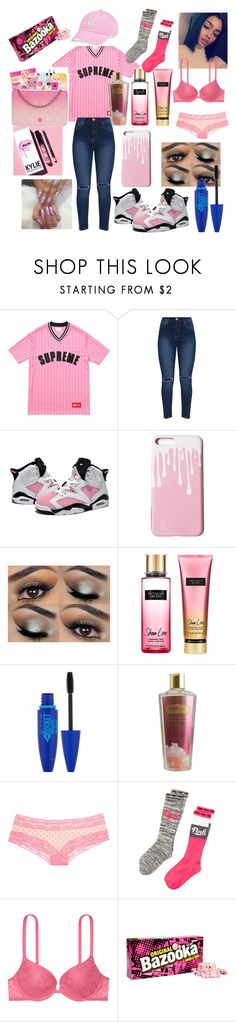 """""""Bubble Gum X Jason derulo ft. Tyga"""" by naezaddylit ❤ liked on Polyvore featuring Retrò, Kylie Cosmetics, Victoria's Secret, Maybelline and '47 Brand"""