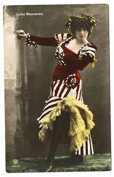 Vintage Burlesque real photo 1900 Glamour postcard of Louise Bauhofer -Dancer/Entertainer.