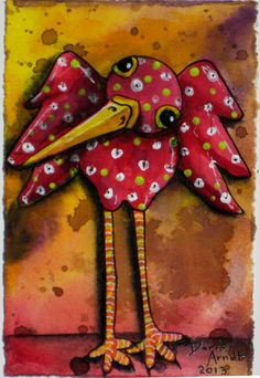 Whimsical Bird Painting by PhantomWhispers on Etsy