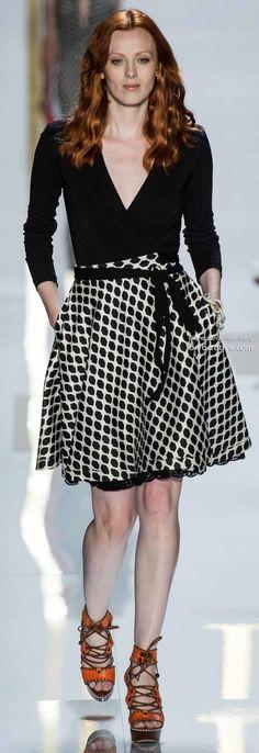 Monochrome and plunging necklines  - Diane von Furstenberg Spring 2014 New York Fashion Week » #NYFW