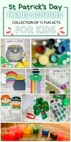 St Patricks Day activities for kids to do in a St Patricks Day theme week this March. Sensory bins, St Patricks Day crafts, St Patricks Day printables and worksheets for preschool and kindergarten