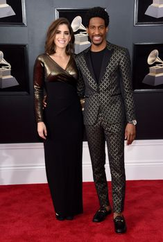 Suleika Jaouad and Jon Batiste   the way the top of the dress fits...w0w