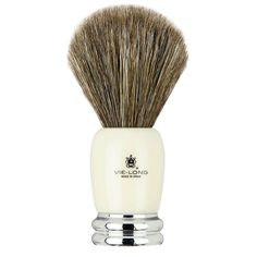 Vie-Long Shaving Brush, Brown Horse Hair Acrylic & Metal, Ivory & Silver.