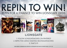 Lionsgate are giving away one of these awesome DVD prize packs each week for 7 weeks! You could win #TheHungerGames DVD and a whole lot more! Here's how to enter:    1. Follow LionsgateMovies on Pinterest here http://pinterest.com/lionsgatemovies/  2. Repin this image with hashtag #LionsgateMovies    3. That's it!      Official Rules http://www.facebook.com/notes/lionsgate/the-lionsgate-movies-re-pin-to-win-sweepstakes-official-rules/10151485803851038