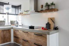 Excellent simple ideas for your inspiration Industrial Kitchen Design, Kitchen Room Design, Kitchen Sets, Kitchen Interior, New Kitchen, Concrete Kitchen, Kitchen Countertops, Kitchen Cabinets, Home Kitchens