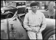 Achille Varzi beside a Bugatti Type 51 racing car, Germany, c1931