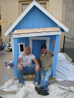 Ed and Paulie outside the finished crooked playhouse