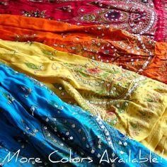 Gyspy Skirt: Yellow Indian Maxi Skirt, Long Skirt, Flowy Skirt, Boho Skirt. $36.99, via Etsy.