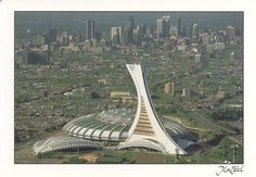 Le Stade Olympique in Montréal has an inclined tower. Largest in the world I believe. The elevator runs up the backside of the tower.