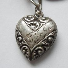 Sterling Silver Repousse Puffy Heart Charm - V for Victory Chevron  - Engraved 'Ruby'