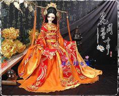 仿SD娃娃成人款古装 唐装汉服 橘红色高贵古装 贵妃古装 花间梦事-淘宝网