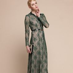 Fashion Style Long Sleeve Long Dresses Green http://www.jollychic.com