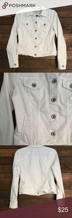 White denim Jacket White denim jacket. Not cropped hits at hip bone. Merona Jackets & Coats Jean Jackets