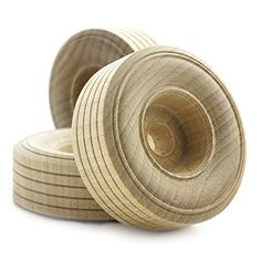 "2"" inch Treaded Wooden Toy Wheel at 3/4"" inch thick with ..."