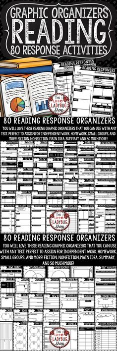 Reading Graphic Organizer BUNDLE- 80 Differentiated Graphic Organizers for Reading Literature. These reading response activities  can be used in small groups, literature circles, centers, reading groups, any reading series, or whole group. They are designed to be used with any book!