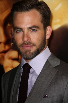 Chris Pine. SubCategory A: Suit Porn. SubCategory B: Iris Porn. SubCategory C: Unmitigated Beard Porn.