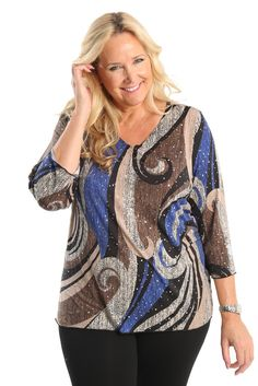 Vikki Vi Jazz 3/4 Sleeve Top A great plus size piece for your holiday party.