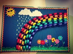 Spring bulletin board Rainbow Bulletin Boards, Easter Bulletin Boards, Preschool Bulletin Boards, Art Activities For Kids, Spring Activities, Daycare Crafts, Preschool Activities, Middle School Decor, Diy Projects For School