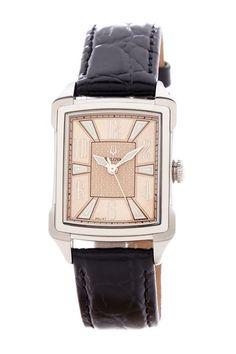 Bulova Watches Women's Black Leather Strap Watch