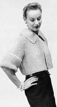 Women's 1960s Vintage Collared Cropped Jacket  -- Knitting Pattern - PDF KNITTING PATTERN