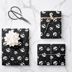 Jack Skellington First Birthday Wrapping Paper Sheets Jack Skellington, Christmas Birthday, Nightmare Before Christmas, Creative Gifts, First Birthdays, Wraps, Gift Wrapping, Decoupage, Paper