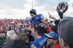 Boise State Broncos celebrate win over University of Washington Huskies at the 2012 Maaco Bowl Las Vegas. Michael Frasina kicked the winning three points.