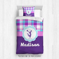 Personalized Figure Skating Purple Plaid Comforter Or Set Plaid Comforter, Twin Comforter, Sports Room Decor, Room Themes, Plaid Pattern, Cute Pink, Clemson Baseball, Twins Baseball, Blue Plaid