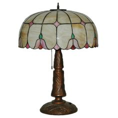 Vintage Slag Glass LeadedLamp - Floral Art Deco design