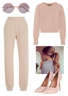 """rose-beige ish❤️"" by alda-naura ❤ liked on Polyvore featuring ATM by Anthony Thomas Melillo, The Elder Statesman, Sunday Somewhere, Topshop, GetTheLook, polyvoreeditorial, polyvorefashion and polyvoreset"