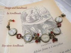 Alice in Wonderland boek-fragment & Swarovski door Scrollbeads