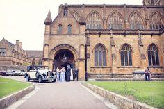 Wedding car at Sherborne Abbey wedding by one thousand words wedding photographers www.onethousandwords.co.uk
