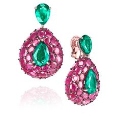 De Grisogono - Emerald, ruby and diamond pendant earrings