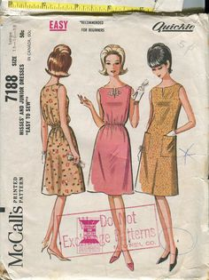 McCalls 7188 Vintage 60s Quickie Sheath Dress