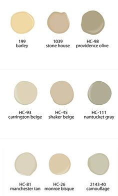 Neutral paint colors from Benjamin Moore paints-  Shaker Beige is about to be the color of our den and halls and Lee wants to make sure it will work with a grey... nantucket maybe?