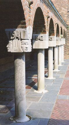 Stylized capitals (American Arts and Crafts) - Cranbrook School for Boys, Bloomfield Hills, Michigan.    Eliel Saarinen