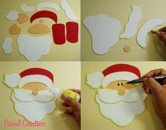 como fazer enfeite natal guirlanda papai noel decoracao casa sala de aula escola EVA (8)