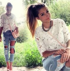 Torn boyfriend jeans and lace top Summer Outfits, Casual Outfits, Cute Outfits, Casual Clothes, All About Fashion, Passion For Fashion, Fashion Beauty, Womens Fashion, Fashion Trends