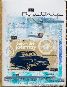 Layers of ink - Road Trip Journal Page by Anna-Karin Evaldsson. Made for the Simon Says Stamp Monday Challenge Blog with stamps by Tim Holtz / Stampers Anonymous and Ranger inks and embossing powders.