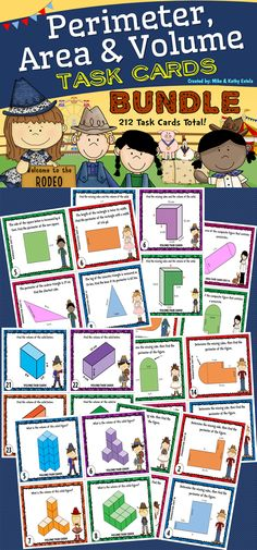Save 10% on this Perimeter, Area, and Volume Bundle - a total of 212 task cards divided into 3 sets!