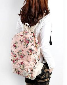 Girls Sweet Cute Kawaii Punk floral Shoulders School Bag Backpacks Bookbags Pink