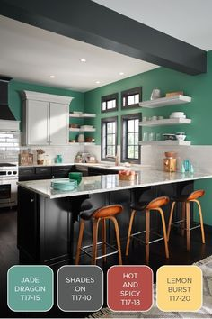 The Confident palette from the BEHR 2017 Color Trends embodies all that is fun about color - it is adventurous and takes some risks. These colors are perfect for places you want to add a drama point - an accent wall, the back of a door, or in the kitchen. | Featured colors: Jade Dragon, Shades On, Hot and Spicy, and Lemon Burst.