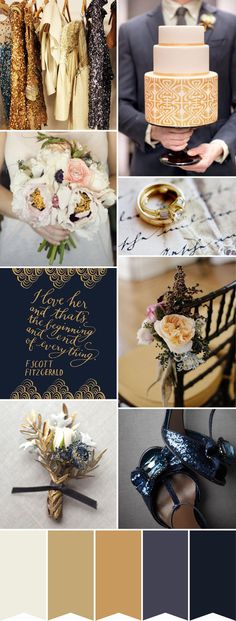 Wedding colour palette - various shades of Dark Blue and Gold