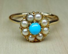 Vintage Antique Pearl & Turquoise 9k Yellow by DiamondAddiction