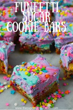 Sugar cookie bars filled with sprinkles. These colorful funfetti bars are sure to put a smile on your face.